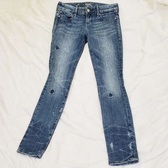 Express Denim - Express Distressed Textured Skinny Denim Jeans 2R